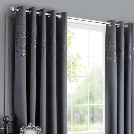 Kiss Me Goodnight Charcoal Thermal Eyelet Curtains