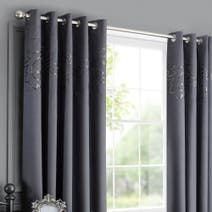 Charcoal Kiss Me Goodnight Thermal Eyelet Curtains