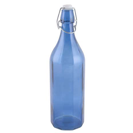 Large Blue Clip Top Glass Bottle
