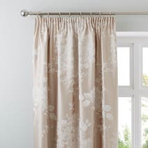 Natural Laura Jacquard Thermal Pencil Pleat Curtains