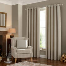 Natural Lennox Lined Eyelet Curtains