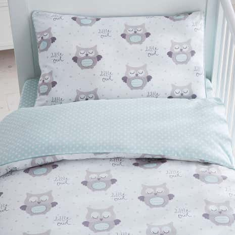 Little Owls Nursery Cot Duvet Cover and Pillowcase Set