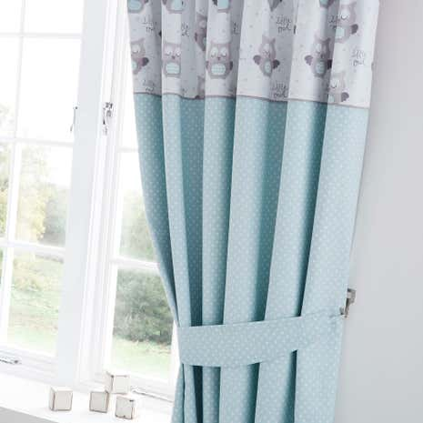 Little owls nursery blackout pencil pleat curtains dunelm for Drapes over crib