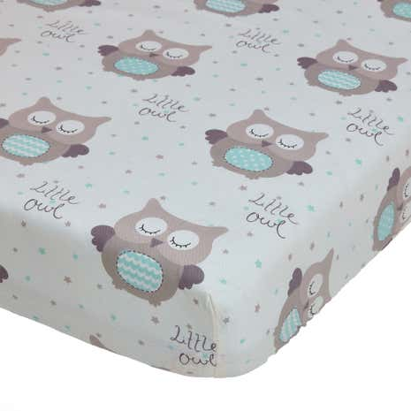 Little Owls Duck Egg Nursery Pair of Fitted Sheets