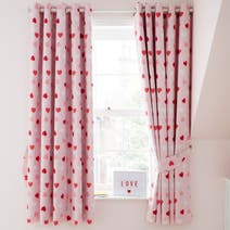 Kids Loveable Hearts Blackout Eyelet Curtains