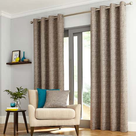 Elements Madison Check Grey Lined Eyelet Curtains