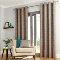 Elements Grey Madison Check Lined Eyelet Curtains