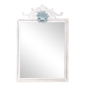 White Ornate Mirror with Teal Floral Embellishment