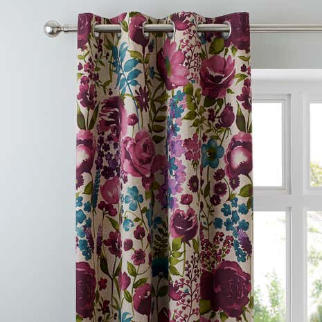 Misty Meadow Collection Lined Eyelet Curtains