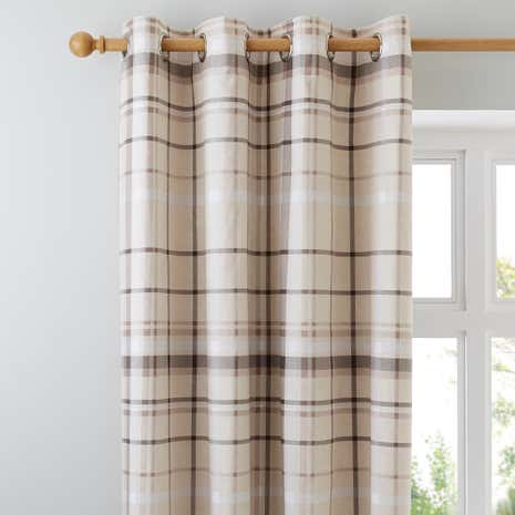 Check Natural Thermal Eyelet Curtains