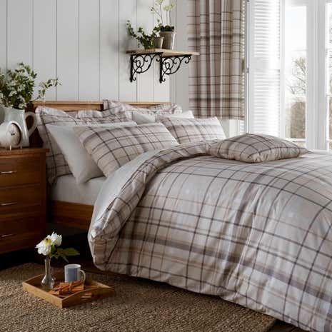 Check Natural Duvet Cover and Pillowcase Set