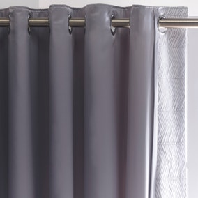 Owen Grey Thermal Eyelet Curtains