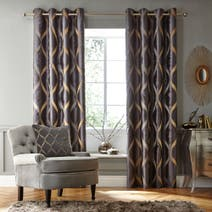 Charcoal Paris Lined Eyelet Curtains