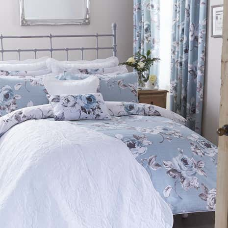 Pretty Vintage Duck Egg Reversible Duvet Cover and ...