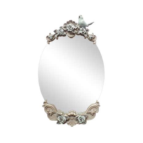 Grey Pretty Vintage Mini Floral Mirror