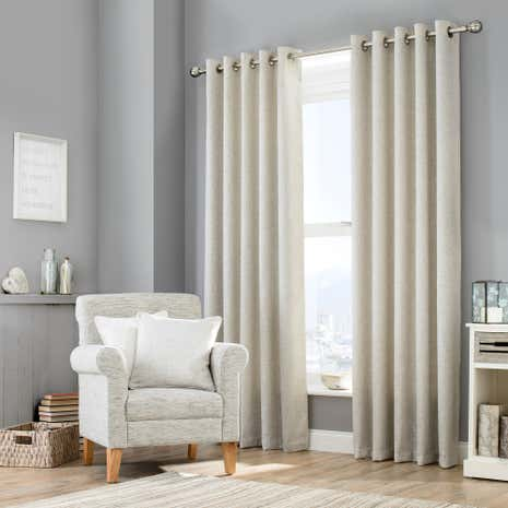 Purity Grey Lined Eyelet Curtains