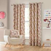 Red Santiago Lined Eyelet Curtains