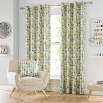 Teal Santiago Lined Eyelet Curtains