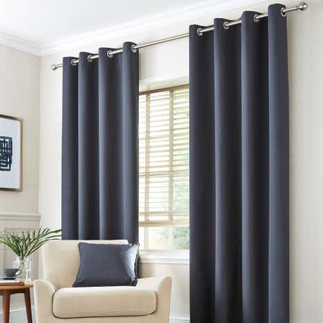 Seattle Charcoal Thermal Eyelet Curtains