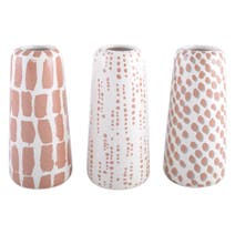 Set of 3 Patterned Decal Vases