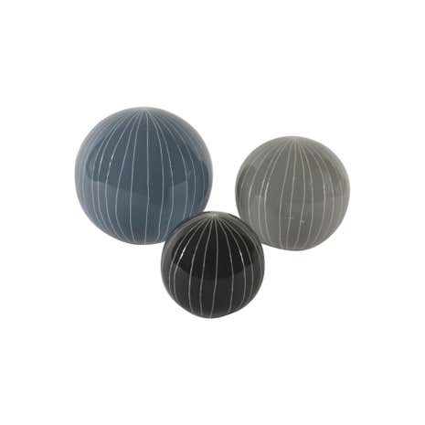 Set of 3 Ceramic Scratched Spheres
