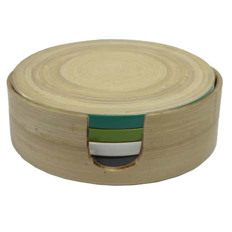 Elements Set of 6 Bamboo Coasters in Holder