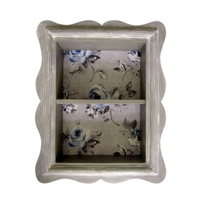 Grey Shadow Box with Floral Pattern