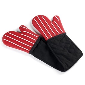 Red Stripe Silicone Double Oven Glove