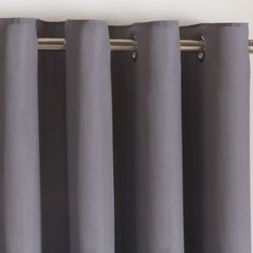 Simplicity Grey Thermal Eyelet Curtains