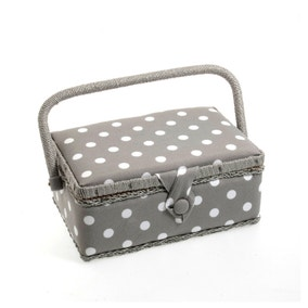 Grey Dotty Sewing Box