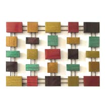 Multi Coloured Square Metal Wall Art