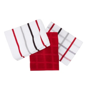 Pack of 5 Red Terry Tea Towels