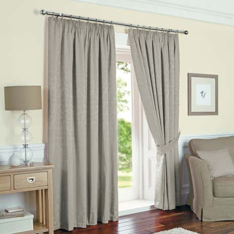 Toledo Silver Thermal Pencil Pleat Curtains