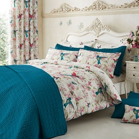 Tropical Birds Teal Bedspread