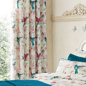 Tropical Birds Teal Thermal Eyelet Curtains