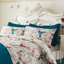 Tropical Birds Teal Oxford Pillowcase