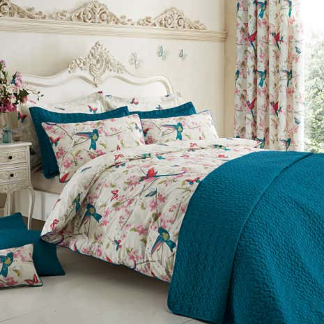 Tropical Birds Teal Duvet Cover Set