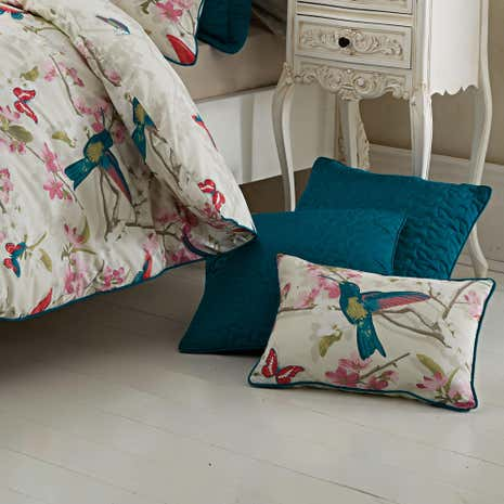 Tropical Birds Teal Cushion