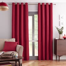 Elements Vermont Red Lined Eyelet Curtains