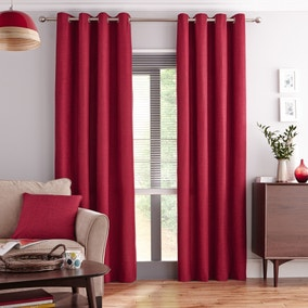 Vermont Red Lined Eyelet Curtains