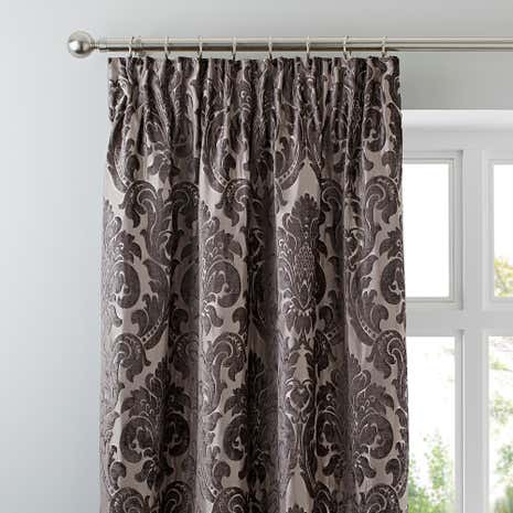 Versailles Charcoal Lined Pencil Pleat Curtains