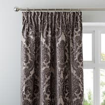 Charcoal Versailles Lined Pencil Pleat Curtains
