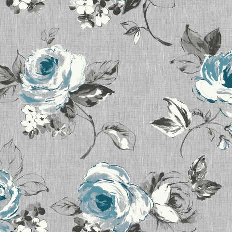 Vintage Rose Blue Fabric