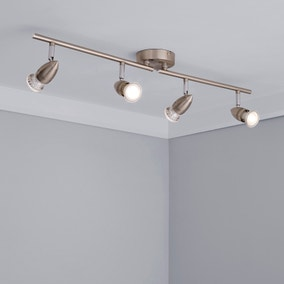Satin Silver 4 Light Spotlight Bar