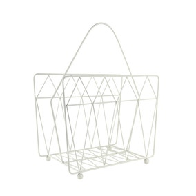 Elements White Wire Magazine Rack