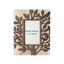 Wooden Leaf Pattern Photo Frame