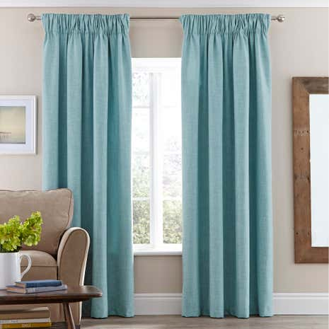 Vermont Duck-Egg Lined Pencil Pleat Curtains