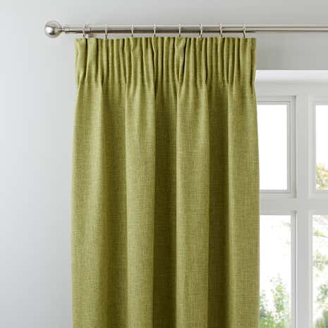 Vermont Green Lined Pencil Pleat Curtains