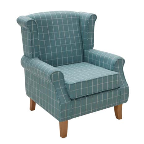 Duck-Egg Check Edinburgh Armchair