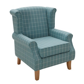 Duck-Egg Check Edinburgh Wingback Chair